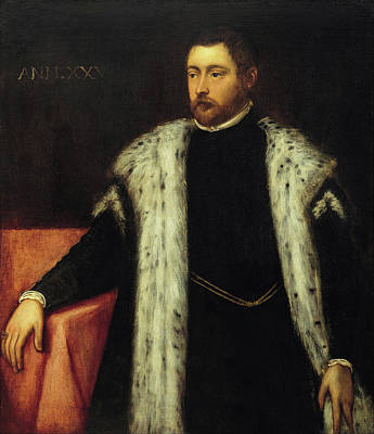 Man Painting - Twenty-five Year Old Youth With Fur-lined Coat by Tintoretto