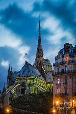 Photograph - Twilight Below Cathedral Notre Dame by Brian Jannsen