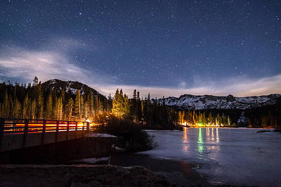 Nightsky Photograph - Twin Lakes At Night by Cat Connor