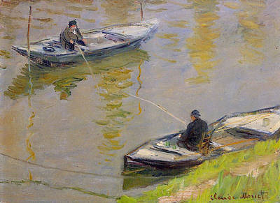 Angling Painting - Two Anglers by Claude Monet