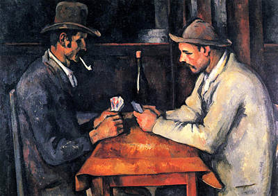 Card Players Painting - Two Card Players by Paul Cezanne
