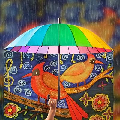 Digital Art - Two Cardinals by Vijay Sharon Govender