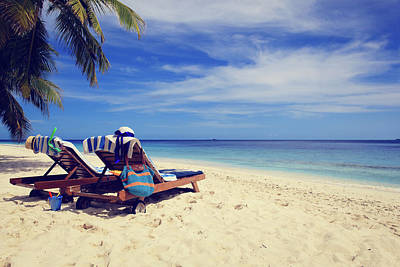 Beach Chairs Photograph - Two Chairs On Tropical Beach Vacation by NadyaEugene Photography