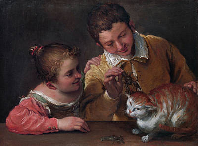 Object Painting - Two Children Teasing A Cat by Annibale Carracci