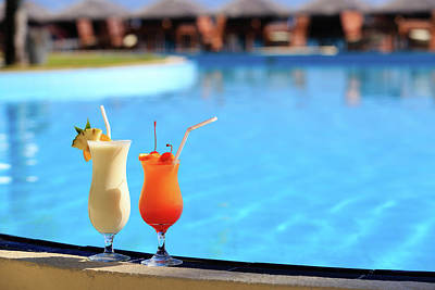 Cocktails Photograph - Two Cocktails On Tropical Beach Resort by NadyaEugene Photography