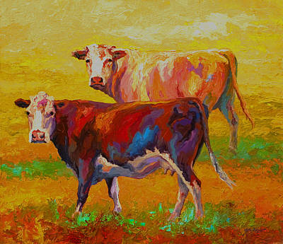 Ranch Painting - Two Cows by Marion Rose