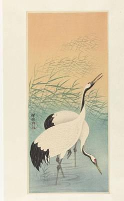 Starlings Painting - Two Cranes, Ohara Koson, 1925 - 1936 by Ohara Koson