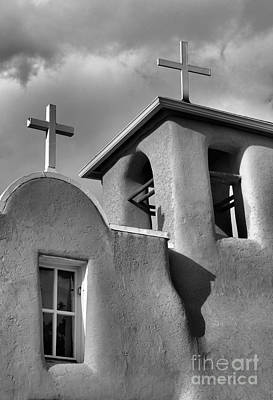Photograph - Two Crosses At San Francisco De Asis Mission Church In Black And White by Nadalyn Larsen