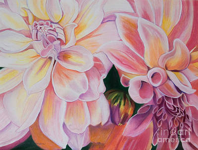 Painting - Two Dahlias by Lucinda  Hansen