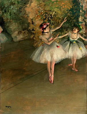 Genre Painting - Two Dancers On Stage by Edgar Degas