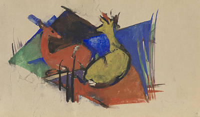 Franz Marc Drawing - Two Deer Lying Down by Franz Marc