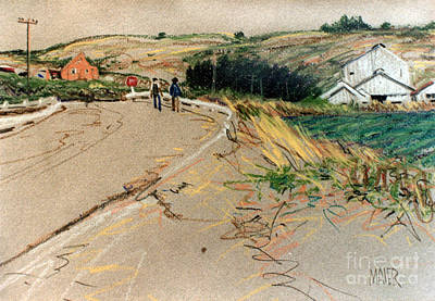 Barn Drawing - Two Farm Workers by Donald Maier