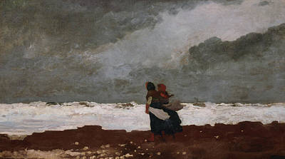 Winslow Homer Painting - Two Figures By The Sea by Winslow Homer
