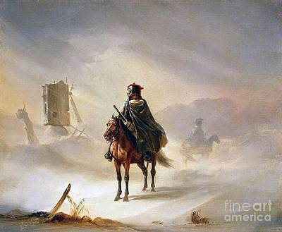 Patrol Painting - Two French Hussars On Patrol In Winter by MotionAge Designs
