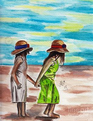 Saba Painting - Two Girls by Bobby Dar