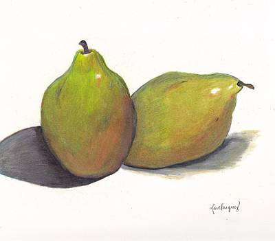 Two Green Pears Art Print by Lea Velasquez