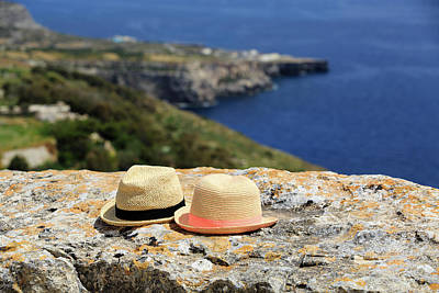 Malta Photograph - Two Hats On Vacation In Mountains At The Sea by NadyaEugene Photography