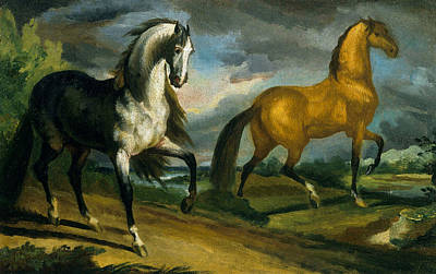 Two Horses Art Print by Theodore Gericault