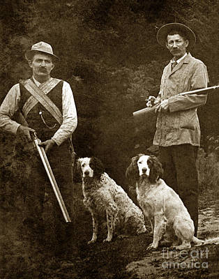 Photograph - Two Hunter With Shotguns And Bird Dogs Circa 1900 by California Views Mr Pat Hathaway Archives