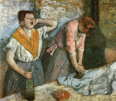 Cloth Painting - Two Ironing Women by Edgar Degas