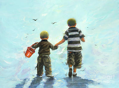 Two Little Boys Painting - Two Little Beach Boys by Vickie Wade