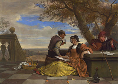 Two Men And A Young Woman Making Music On A Terrace Art Print
