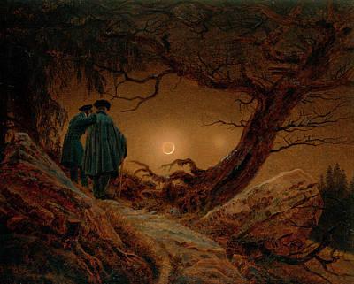 David Painting - Two Men Contemplating The Moon by Caspar David Friedrich