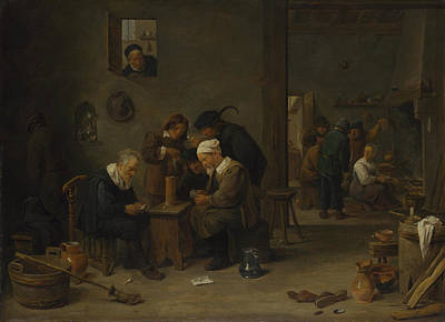 Digital Art - Two Men Playing Cards In The Kitchen Of An Inn by David Teniers the Younger
