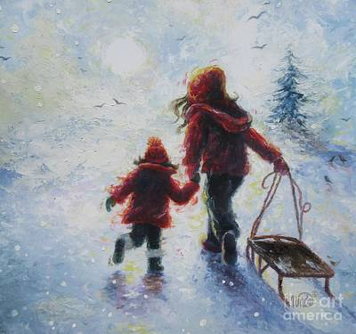 Two Girls Painting - Two Sisters Going Sledding by Vickie Wade