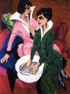 Toilet Painting - Two Women With A Washbasin by Ernst Ludwig Kirchner