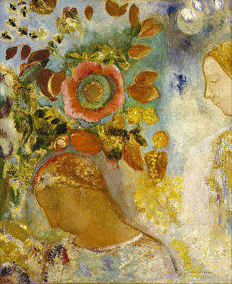 Painting - Two Young Girls Among Flowers by Odilon Redon