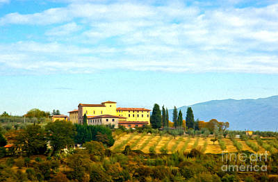 Chianti Vines Painting - Typical Tuscan Hill by Antonio Gravante
