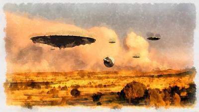 Ufo Painting - Ufo Armada by Esoterica Art Agency