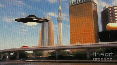 Science Fiction Royalty-Free and Rights-Managed Images - UFO Over City by Raphael Terra