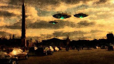 Ufo Painting - Ufo Over Paris by Raphael Terra