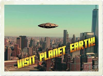 Paranormal Digital Art - Ufo Postcards Home By Raphael Terra by Raphael Terra