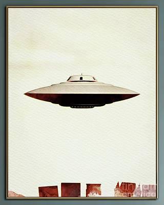 Science Fiction Paintings - UFO Skyline by Raphael Terra