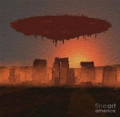 Science Fiction Royalty-Free and Rights-Managed Images - UFO Stonehenge by Raphael Terra
