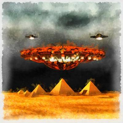 Alien Abduction Wall Art - Painting - Ufos Over Pyramids by Esoterica Art Agency
