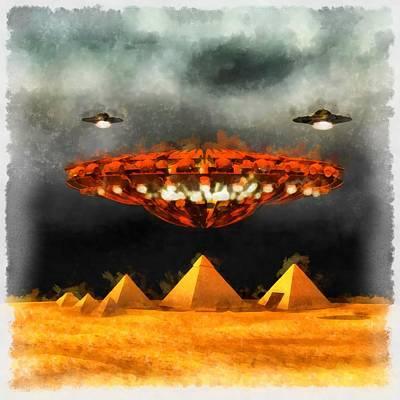 Ufos Over Pyramids Art Print