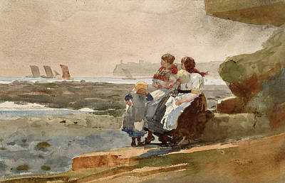 Winslow Homer Drawing - Under The Cliff. Cullercoats by Winslow Homer