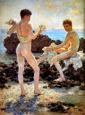 Painting - Under The Western Sun by H Tuke