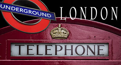 London Phone Booth Digital Art - Underground London by Daniel Hagerman