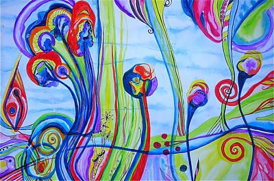 Art Print featuring the painting Underwater Trip Garden by Erika Swartzkopf