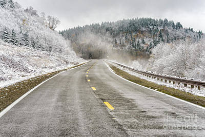 Print featuring the photograph Unexpected Autumn Snow Highland Scenic Highway by Thomas R Fletcher