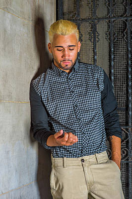 Photograph - Unhappy Young Hispanic American Man Looking Down, Thinking Outsi by Alexander Image
