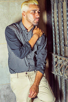 Photograph - Unhappy Young Hispanic American Man Thinking Outside. by Alexander Image