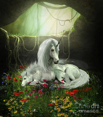 Cavern Digital Art - Unicorn Mare And Foal by Corey Ford