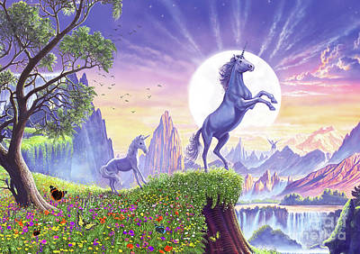 Art Print featuring the digital art Unicorn Moon by Steve Crisp