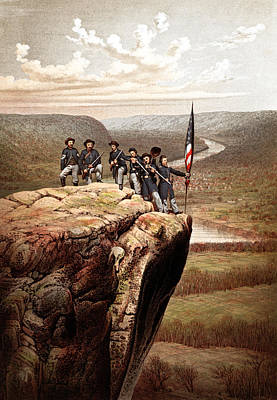 Us Flag Mixed Media - Union Soldiers On Lookout Mountain by War Is Hell Store